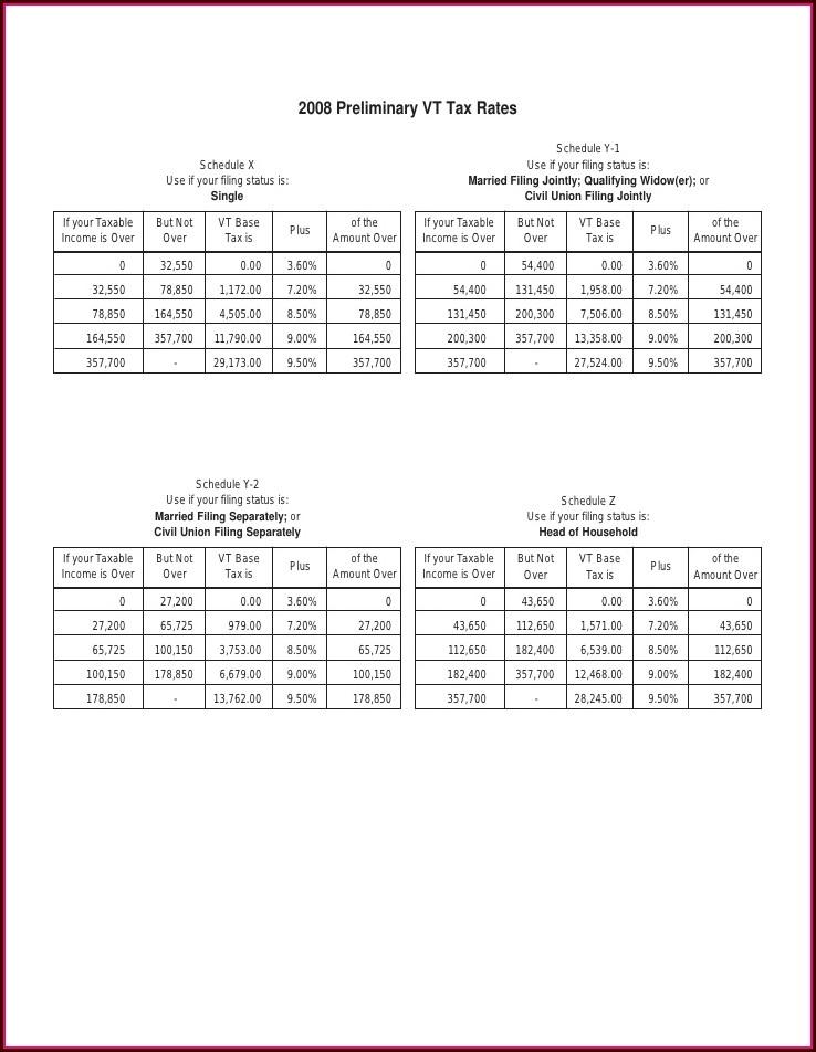 Vermont Tax Worksheet In 152