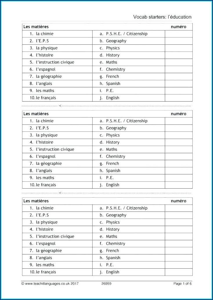 Vive La France Math Worksheet E 76