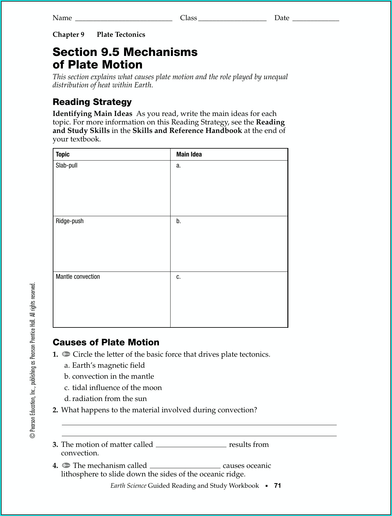 Volcanoes And Plate Tectonics Worksheet Pearson