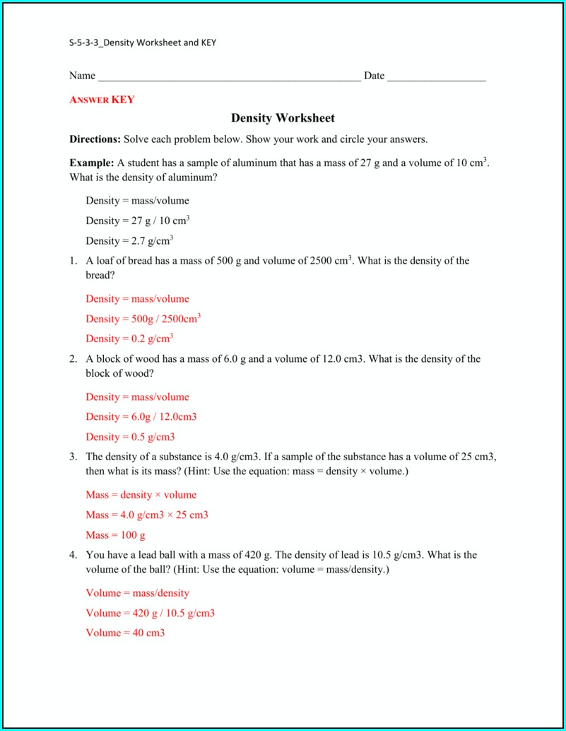 Volume And Density Worksheet Answer Key