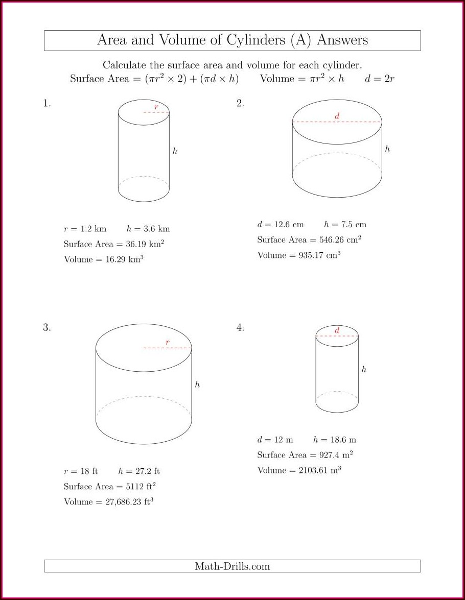 Volume Of Cylinder Word Problems Worksheet
