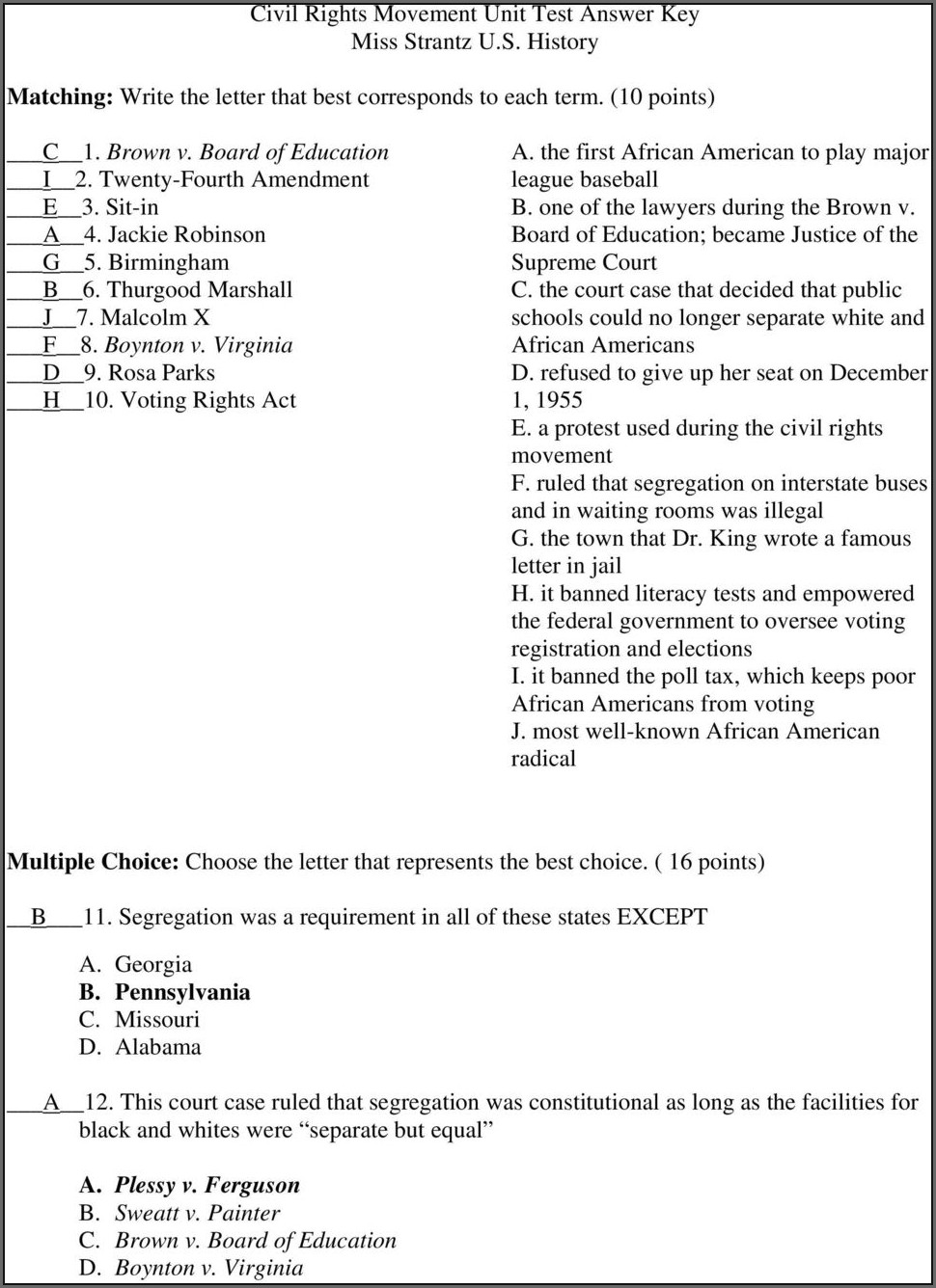 Voting Rights Timeline Match Up Worksheet Answers
