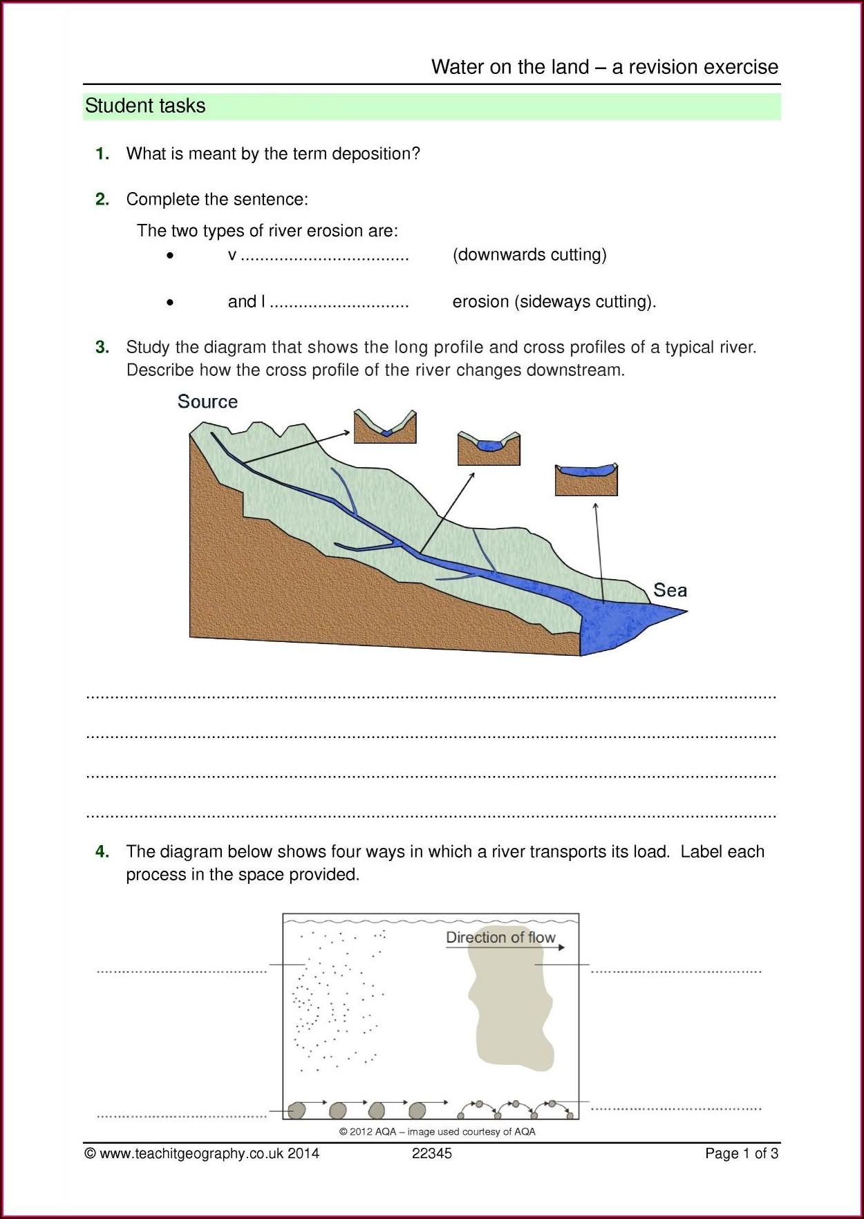 Water Cycle Worksheet Ks4