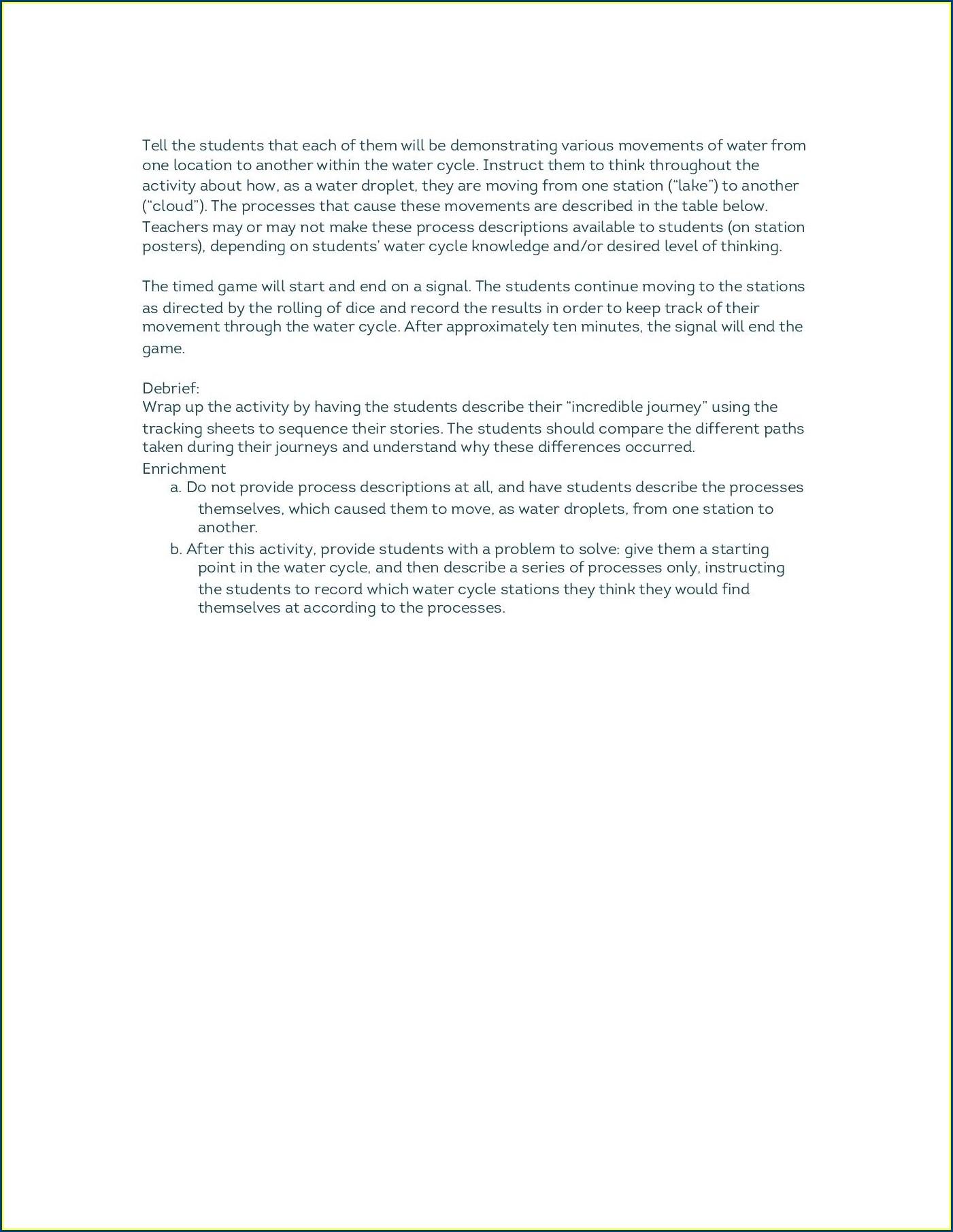 Water Cycle Worksheet Online