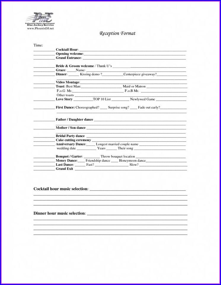 Wedding Reception Timeline Worksheet