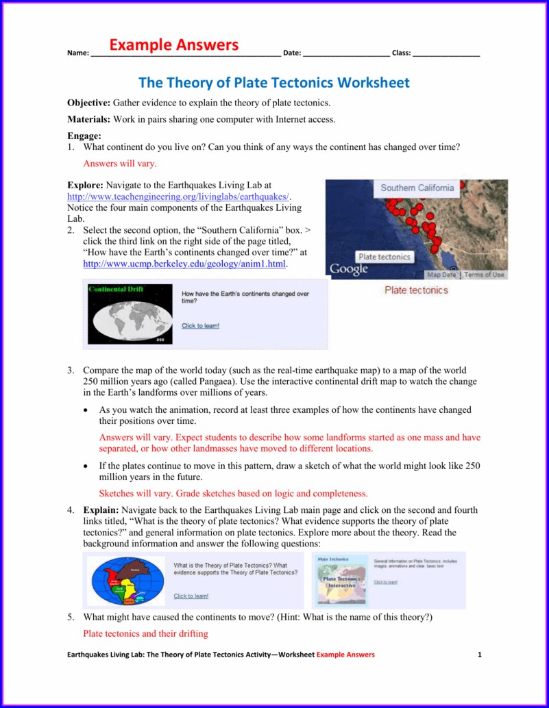 What Is Plate Tectonics Worksheet
