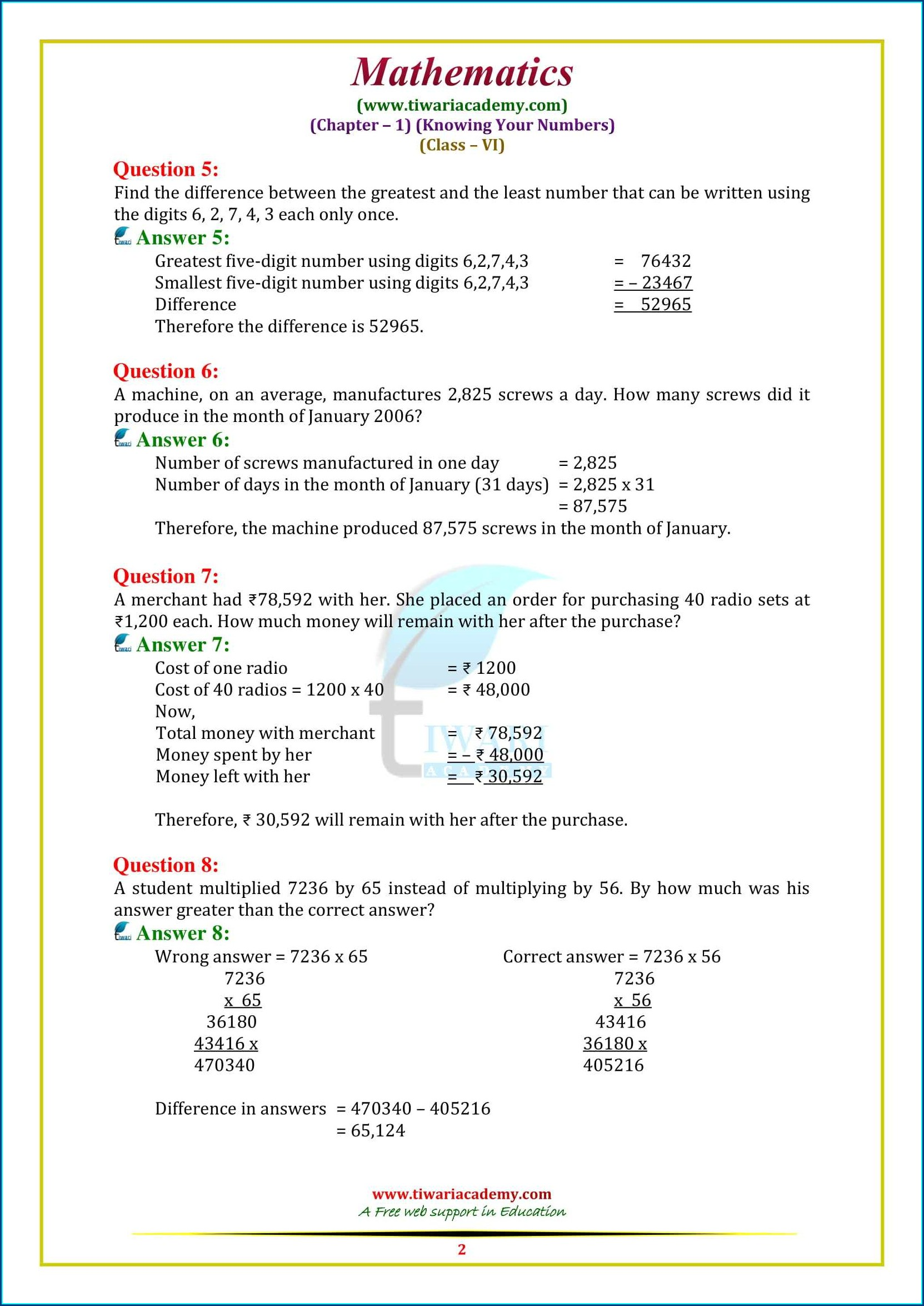 Whole Numbers Class 6 Worksheet