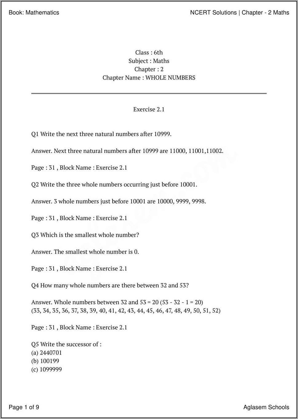 Whole Numbers Class 6th Worksheet