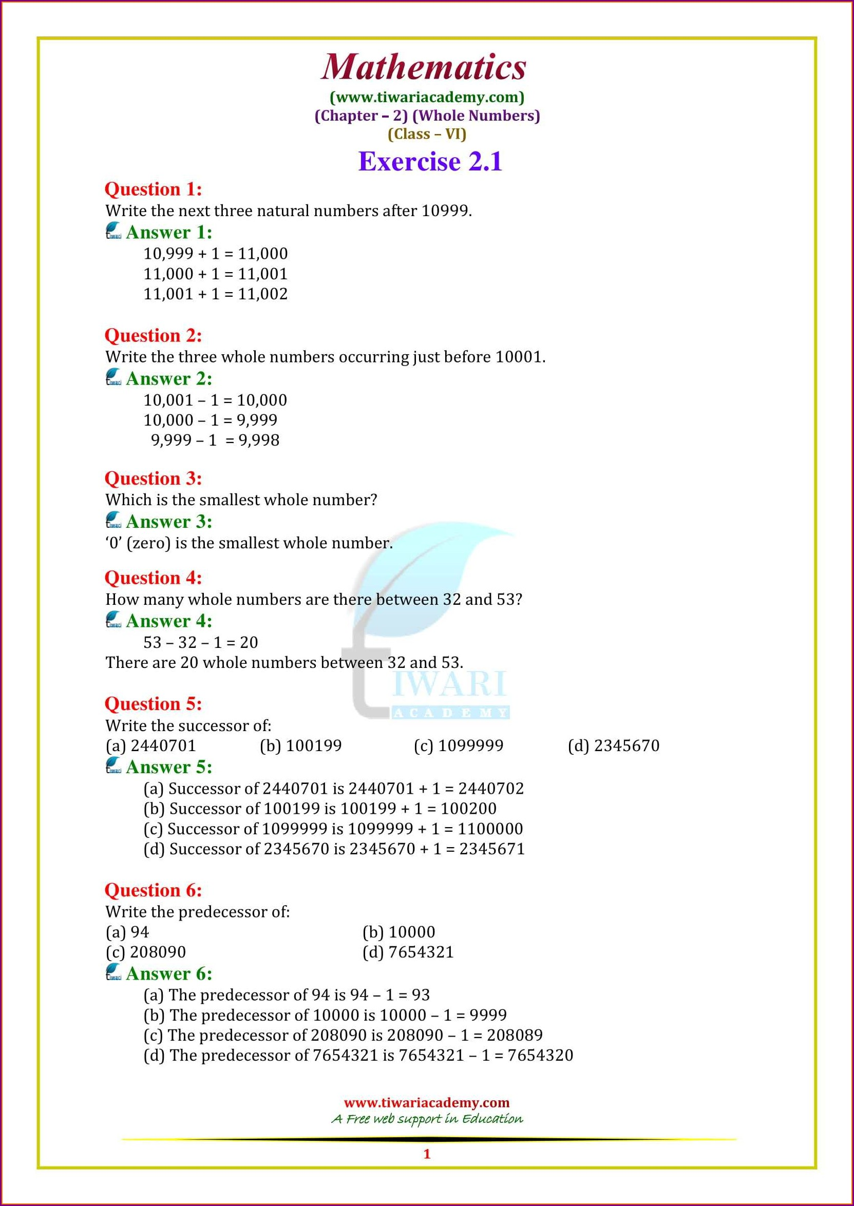 Whole Numbers Worksheets For Class 6