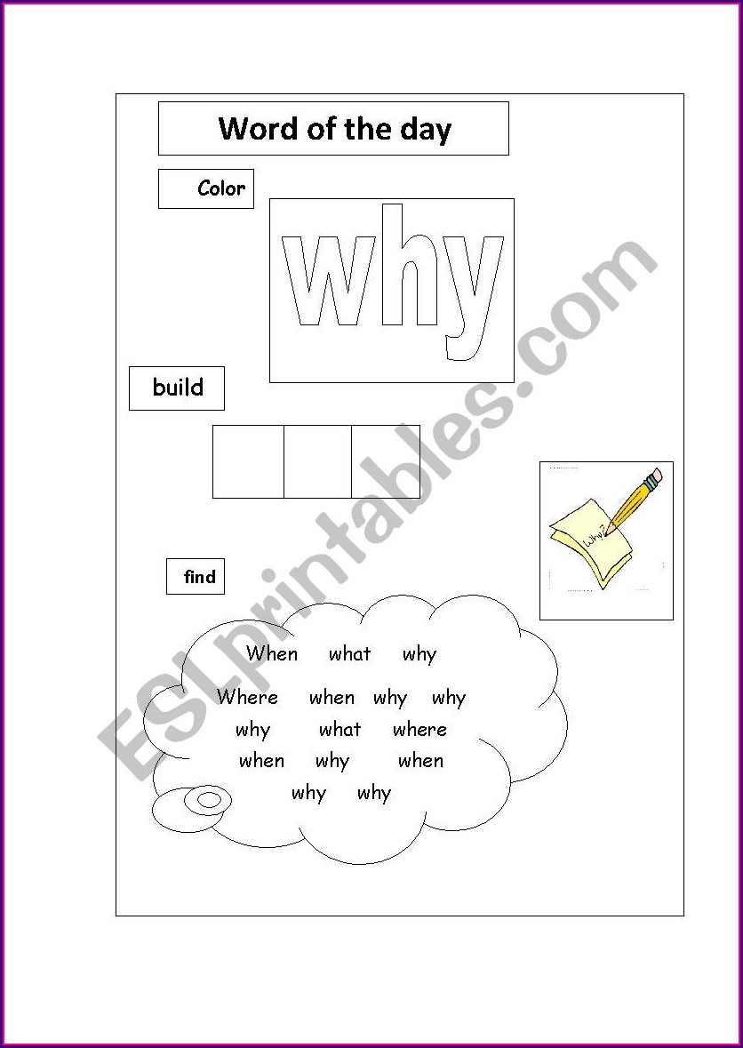 Why Sight Word Worksheet