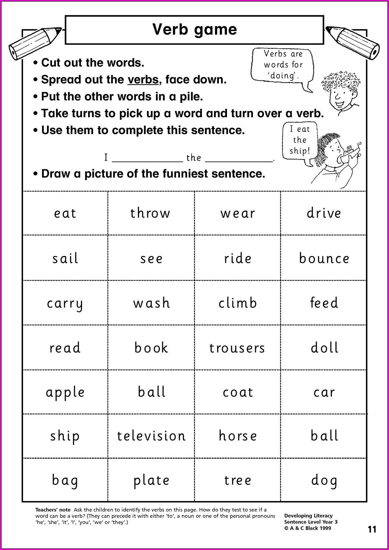 Word Classes Worksheet Year 3