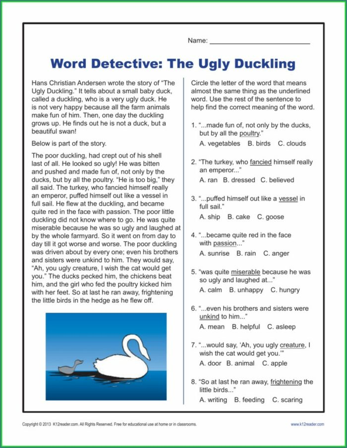 Word Detective Worksheet Answers