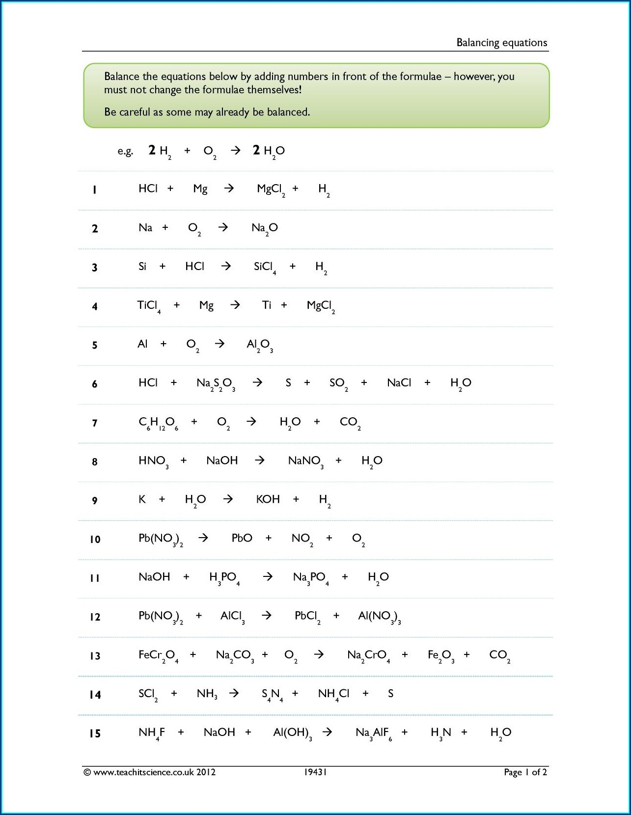 Word Equation Balancing Worksheet
