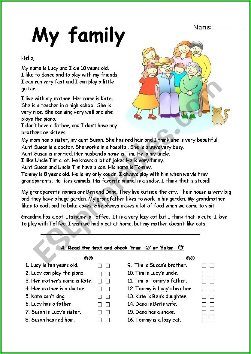 Word Family Reading Comprehension Worksheets