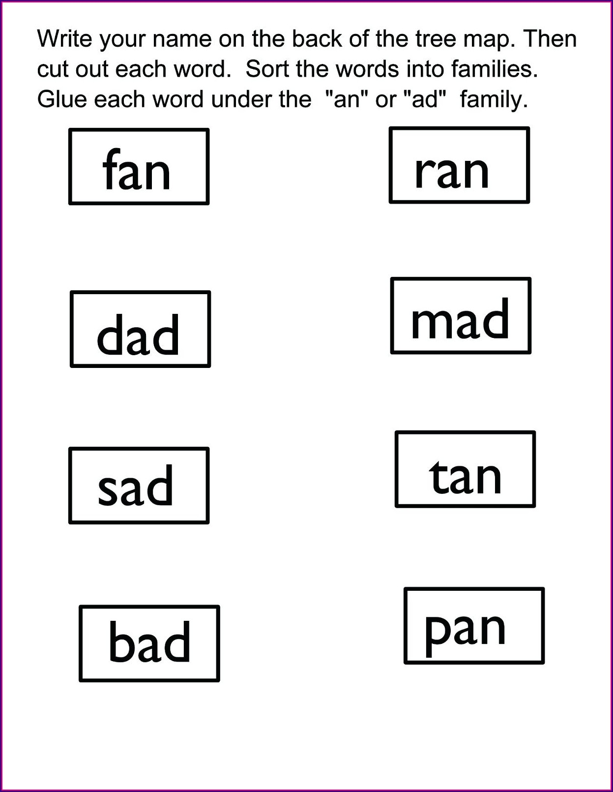 Word Family Tracing Worksheets