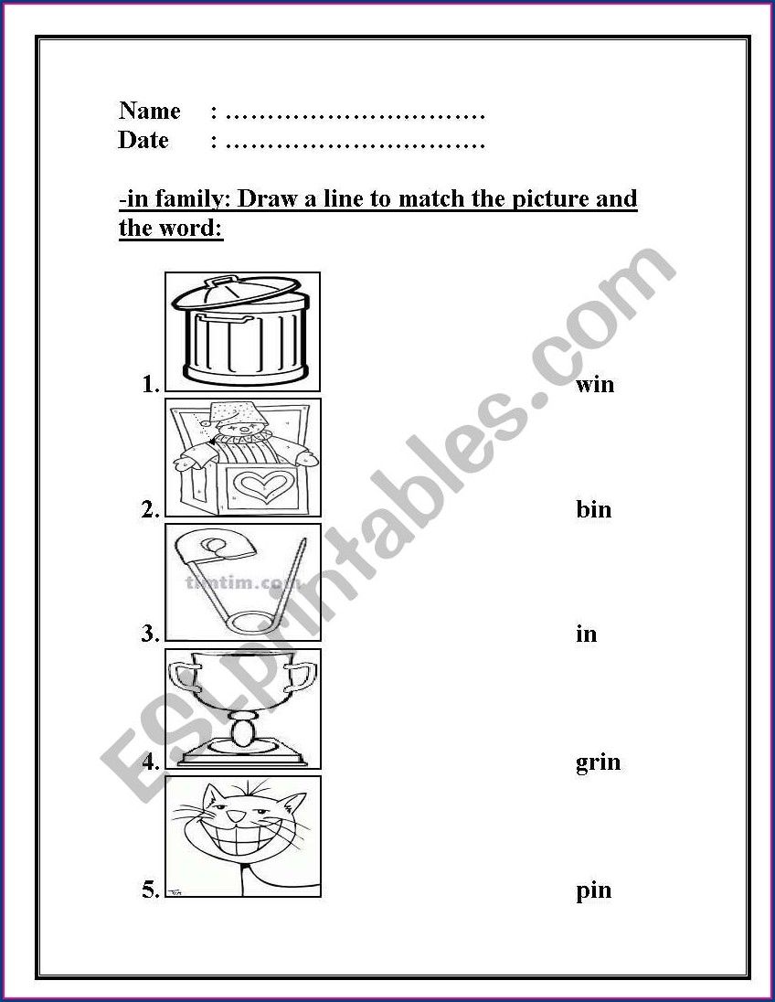 Word Family Worksheets In