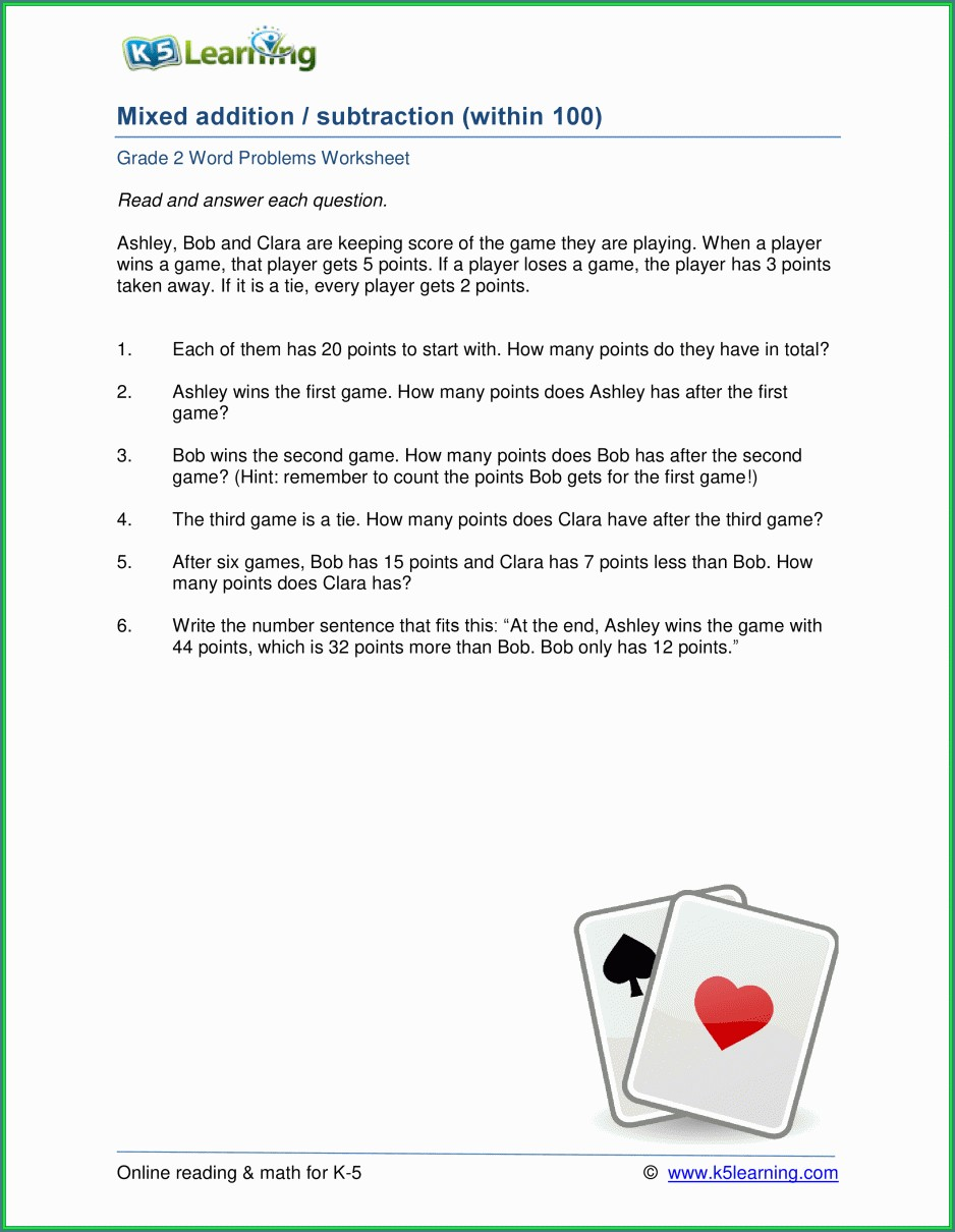 Word Problem Worksheets For 2nd Grade