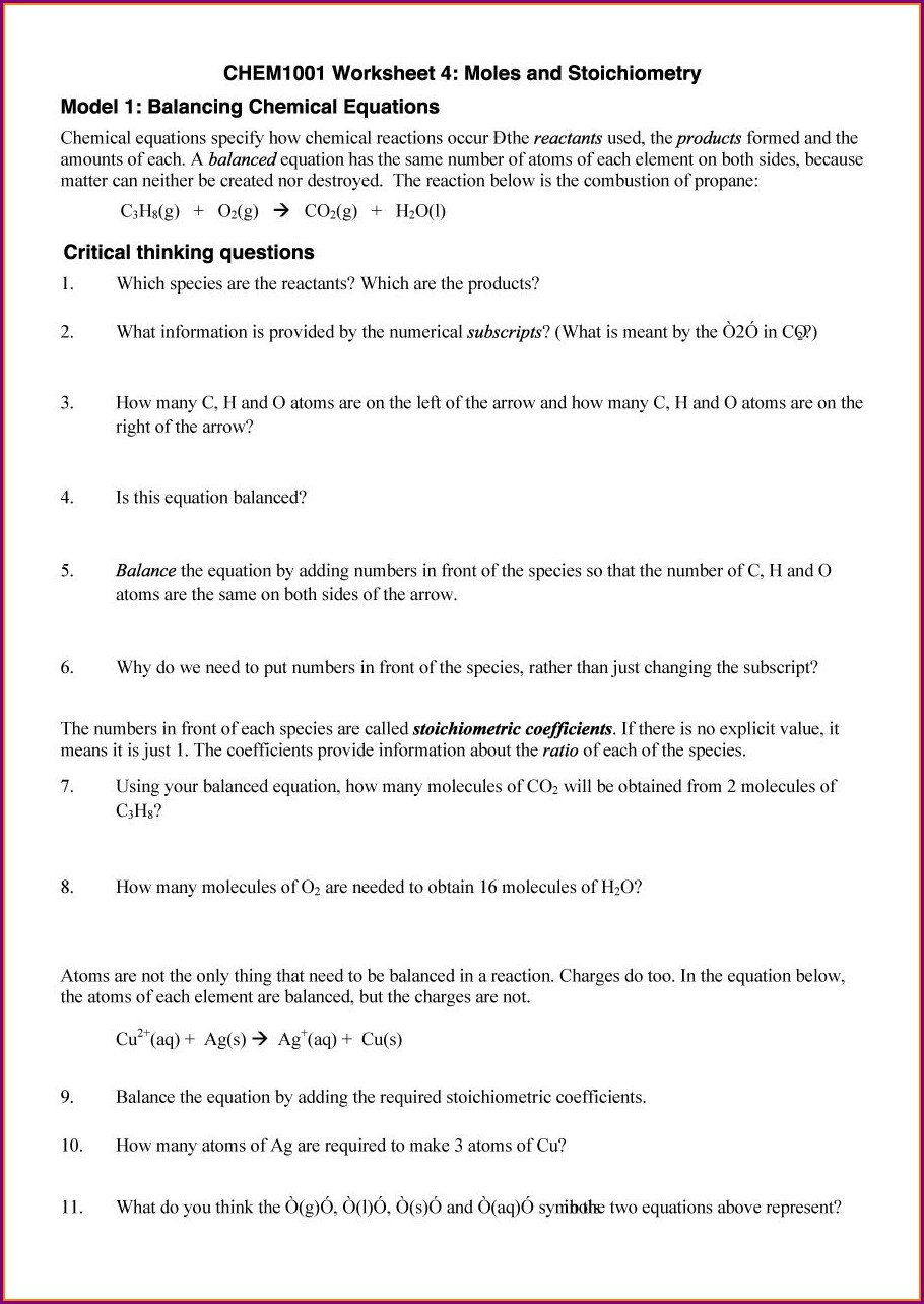 Word Problems Balancing Equations Worksheet
