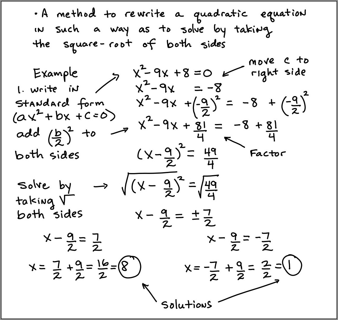 Word Problems Using Quadratic Equations Worksheet