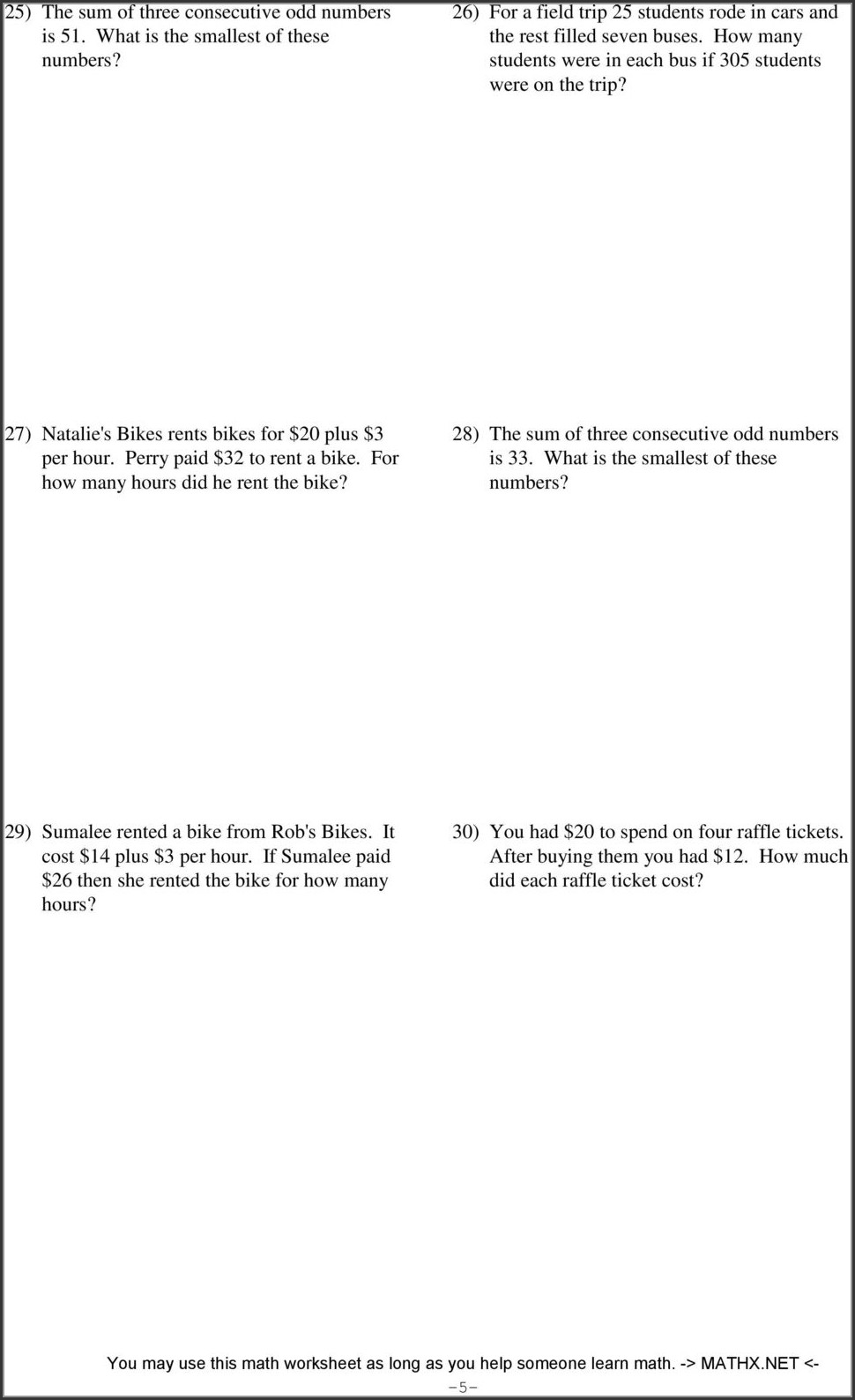 Word Problems With Integers Worksheet Pdf