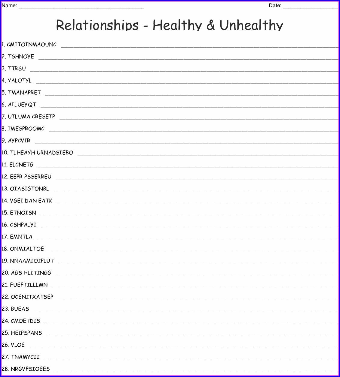 Word Relationships Worksheet Free