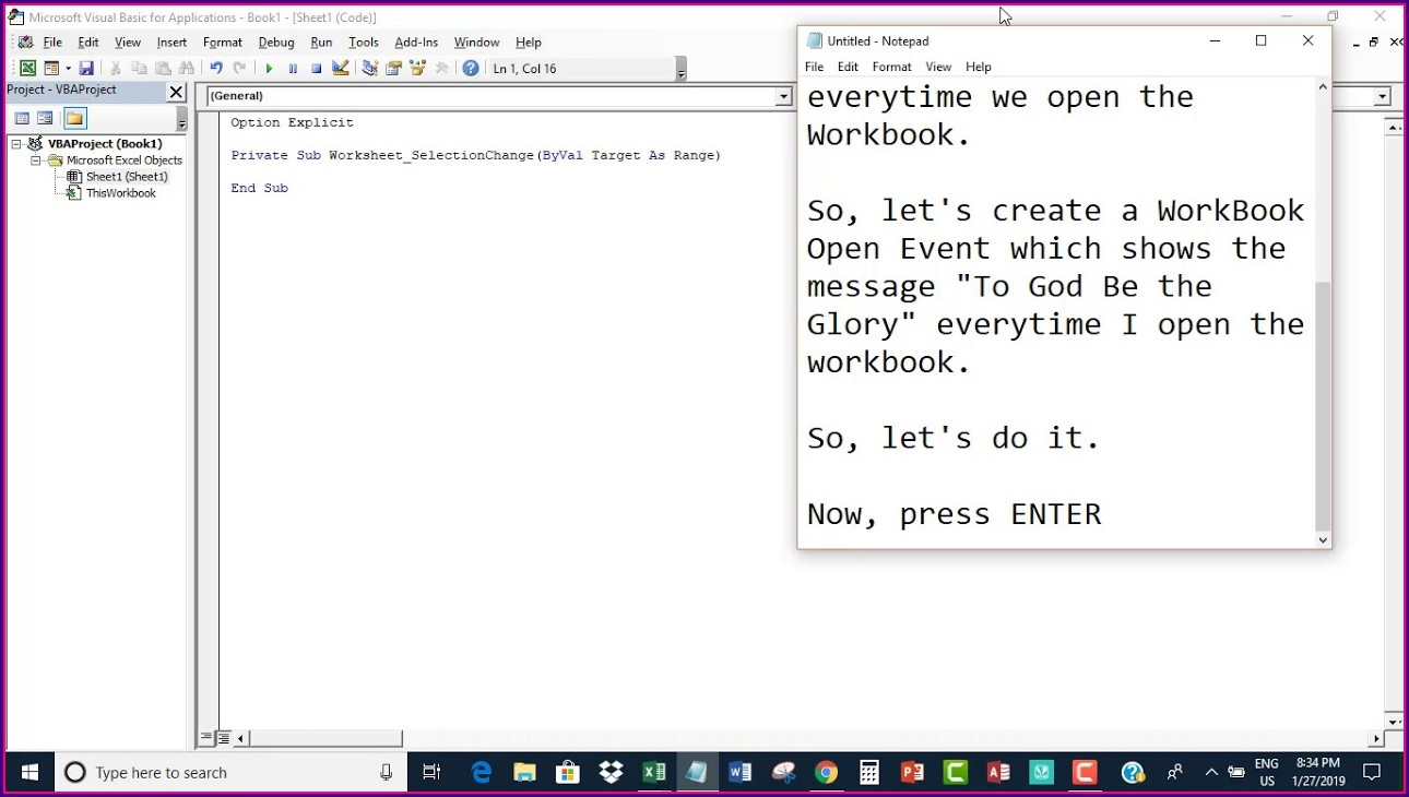 Workbook Open Procedure Vba