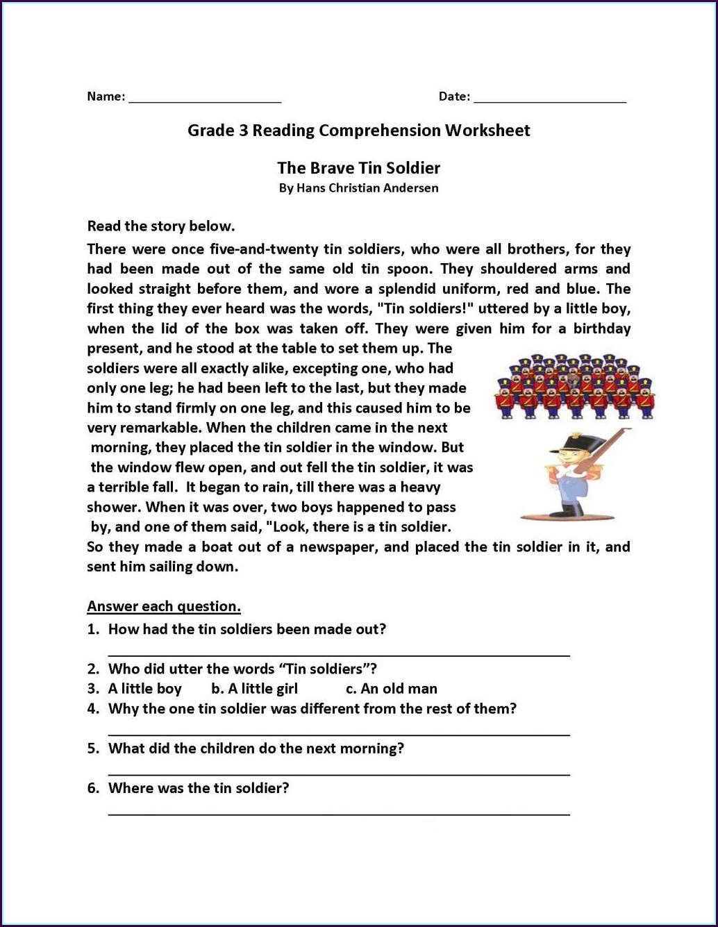 Worksheet 3rd Grade Reading Comprehension