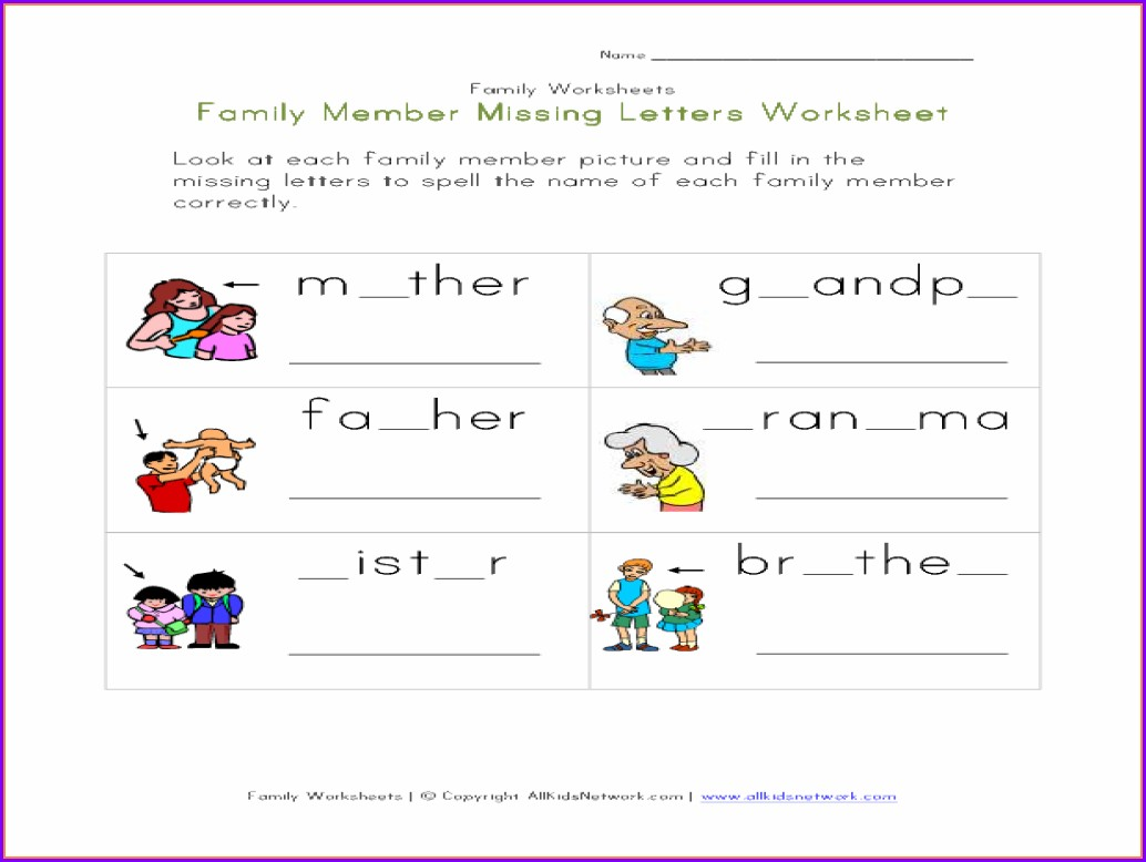 Worksheet About Family Members For Kindergarten