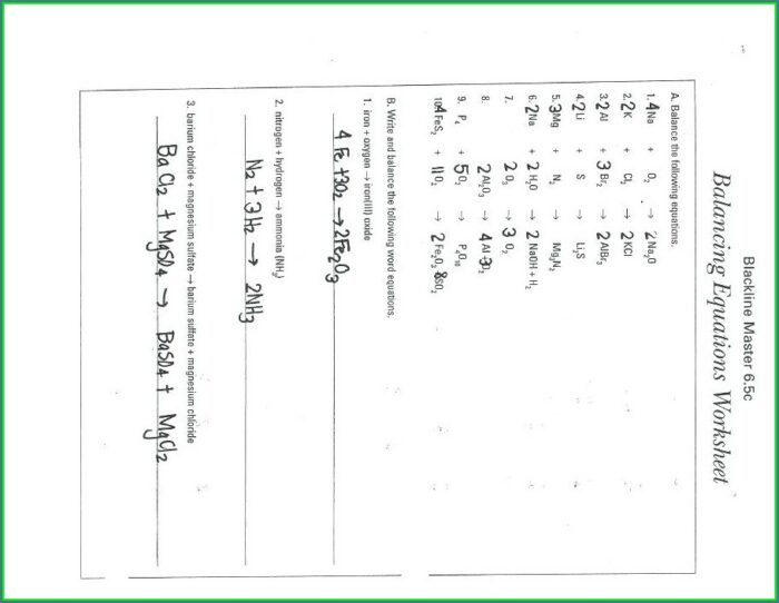 Worksheet Balancing Word Equations Chapter 10