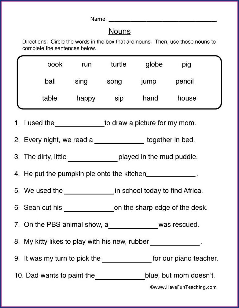 Worksheet English For Grade 1