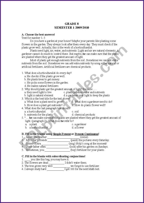 Worksheet English For Grade 7