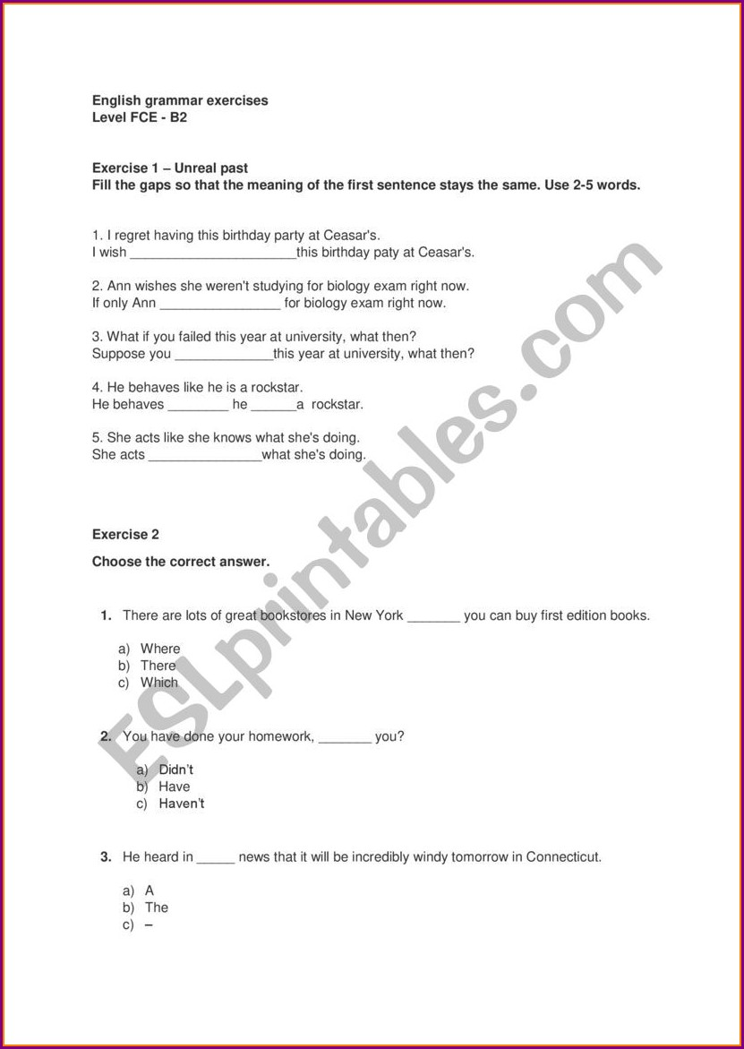 Worksheet English Grammar Exercises