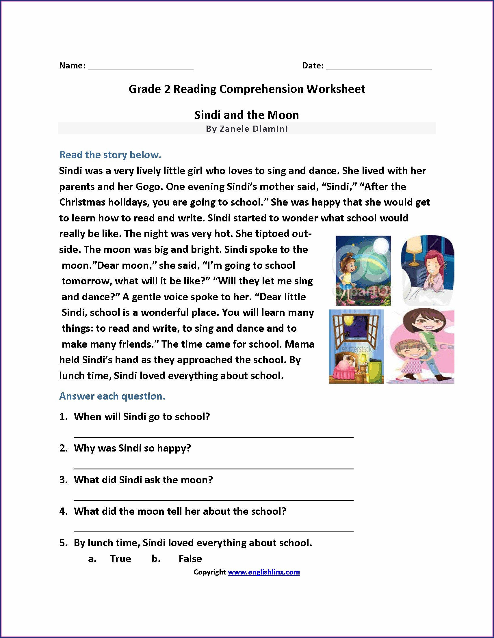 Worksheet English Reading For Grade 1