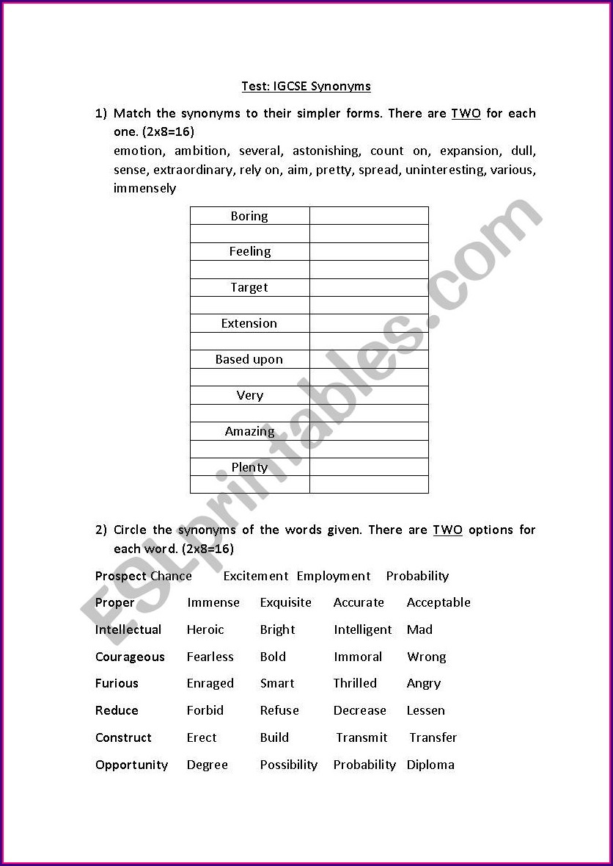 Worksheet English Second Language