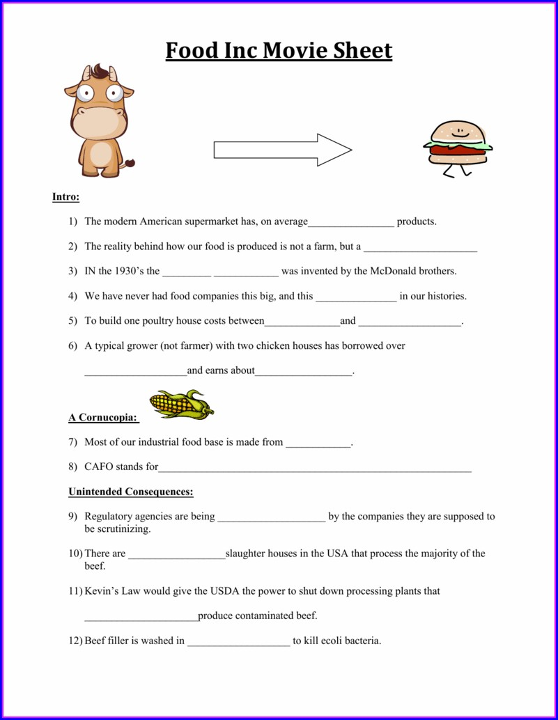 Worksheet Food Inc Movie Sheet Answers