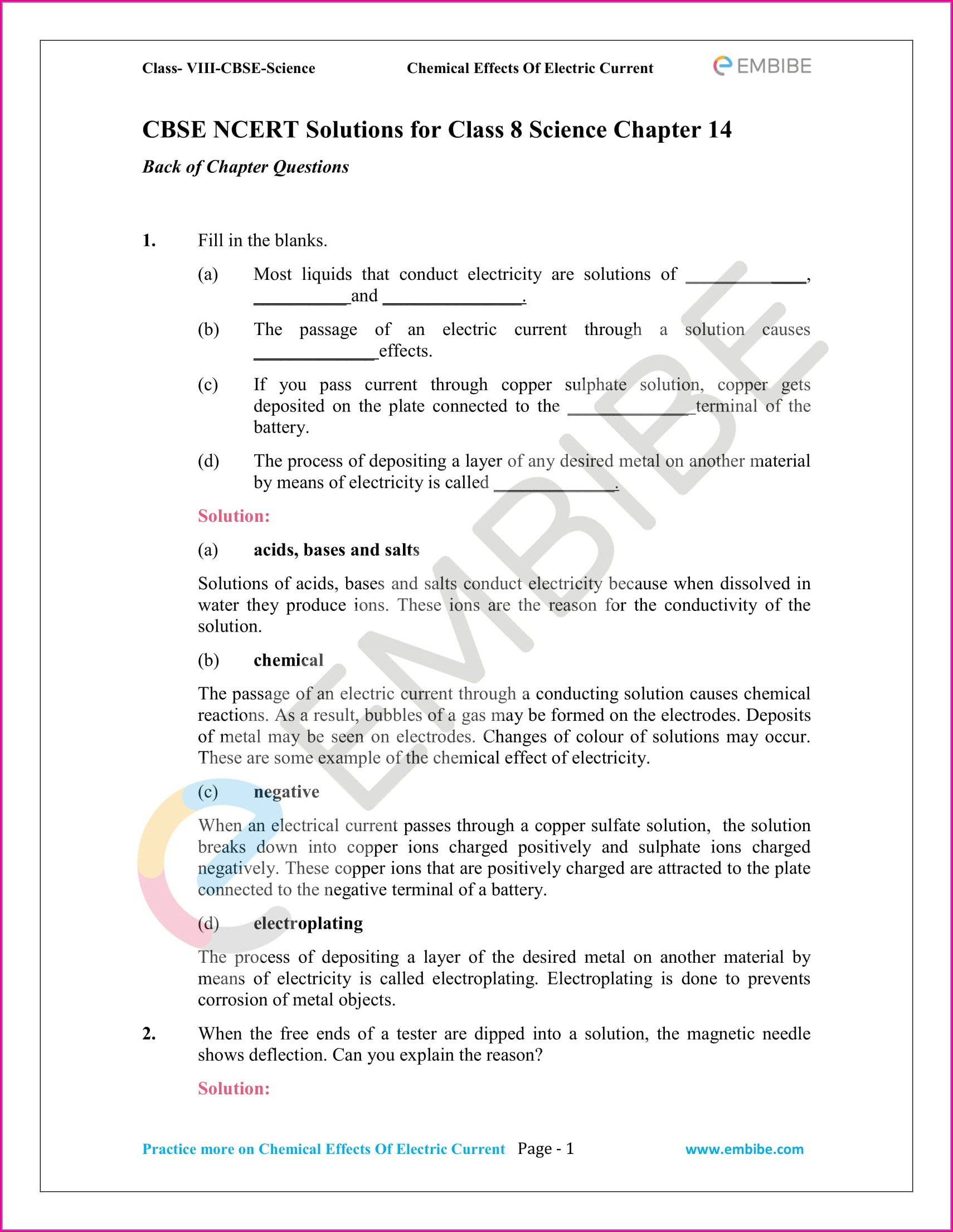 Worksheet For Class 8 Science Chapter 1