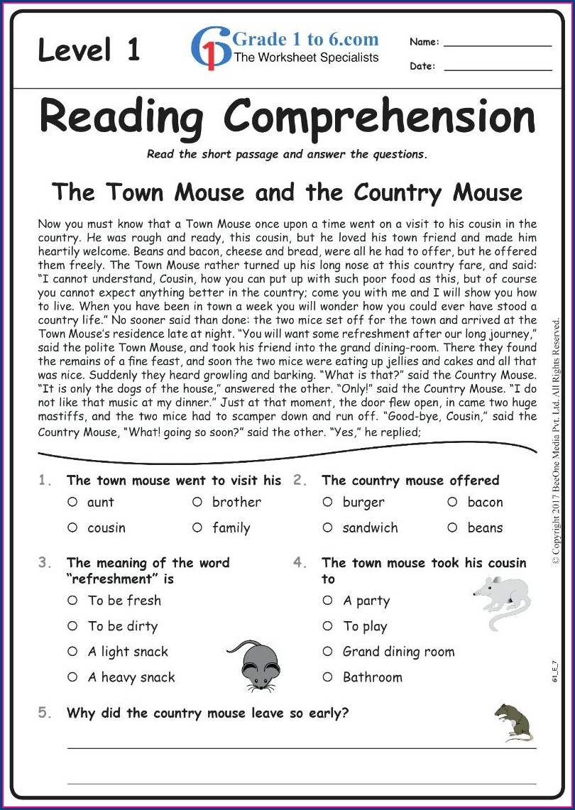 Worksheet For Grade 2 English Comprehension