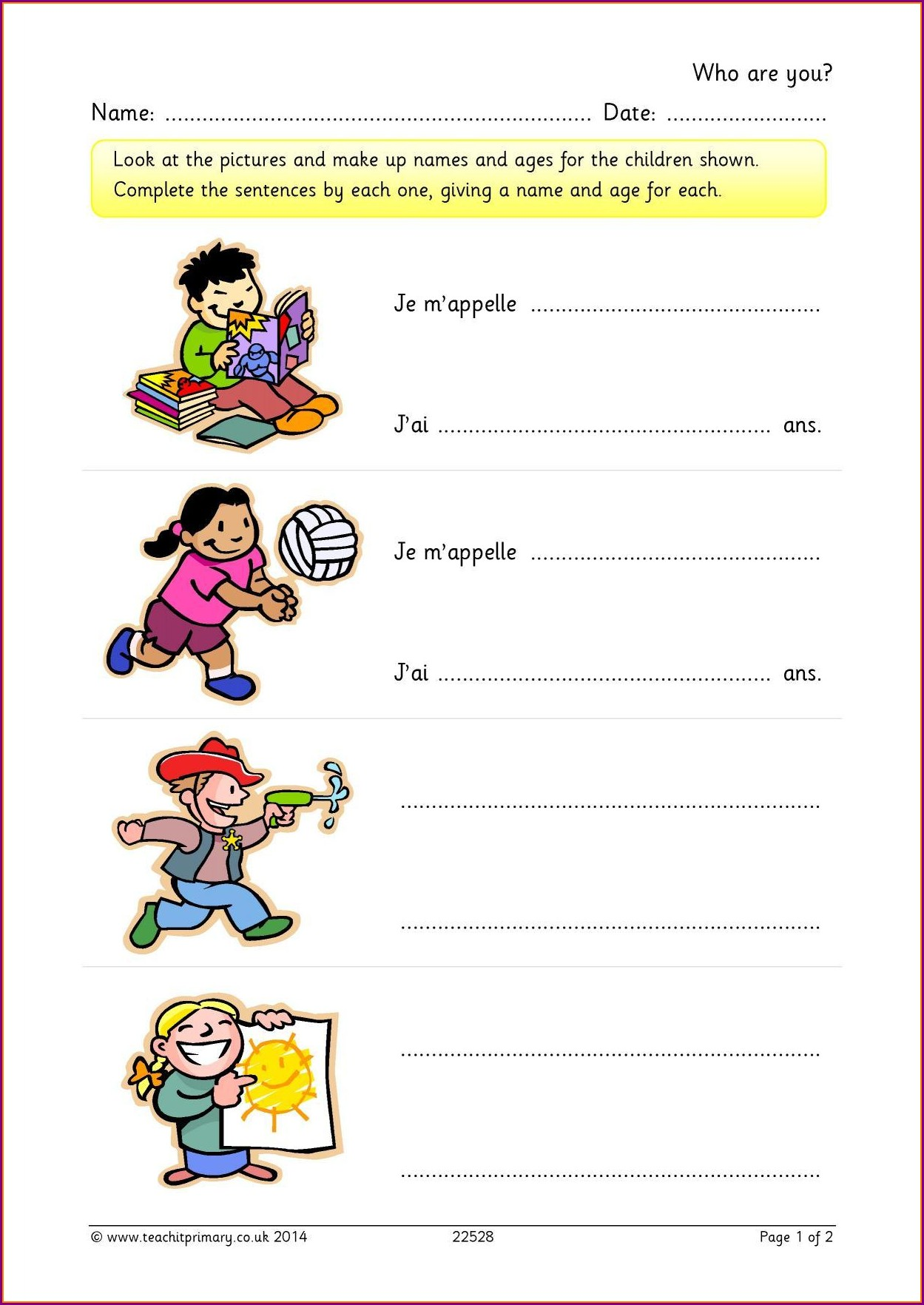 Worksheet For Numbers In French