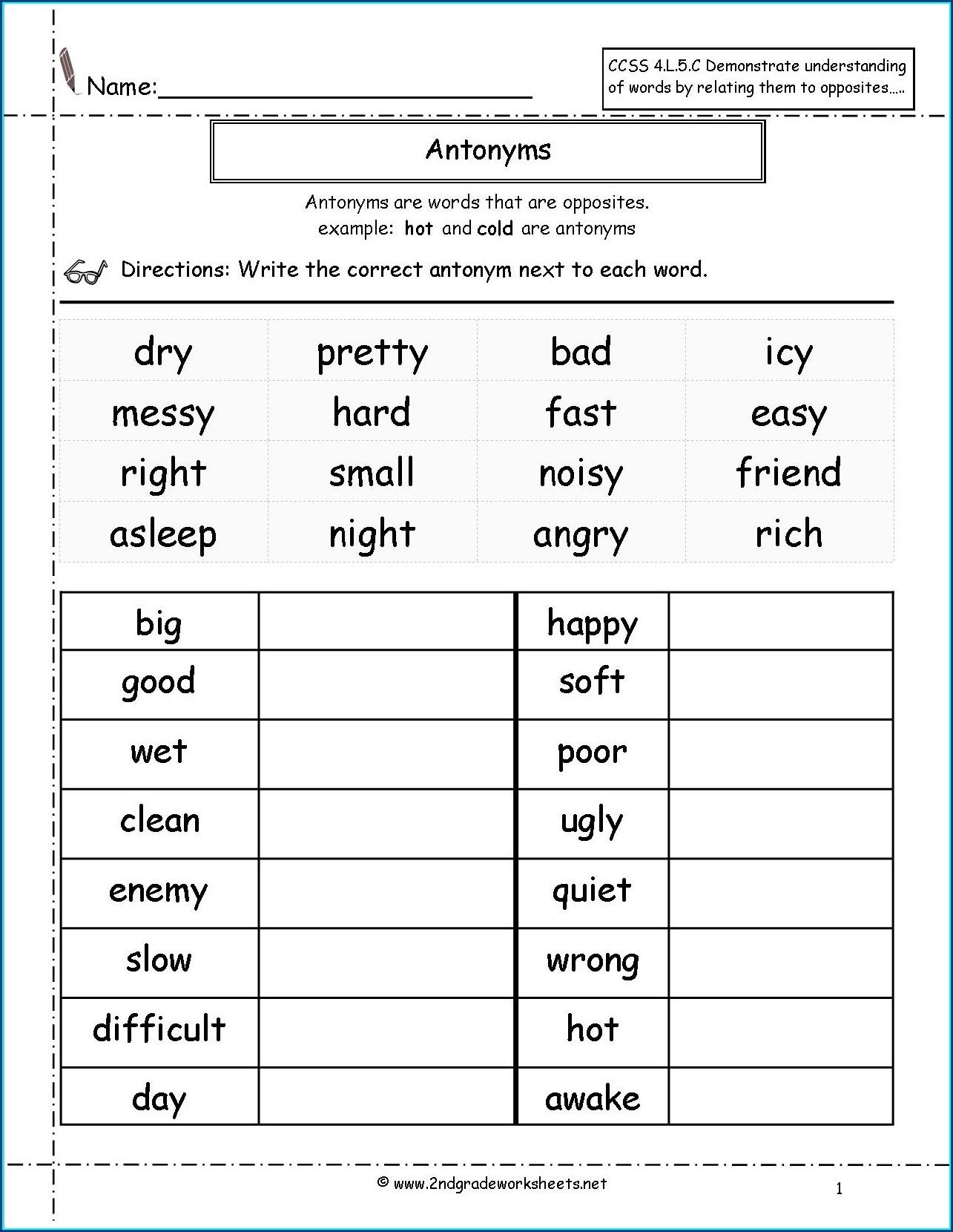 Worksheet For Second Grade