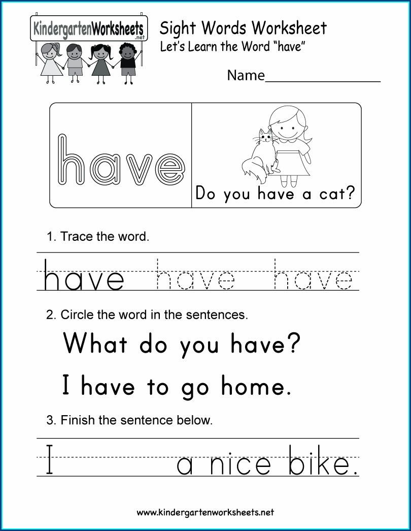 Worksheet For Sight Word You