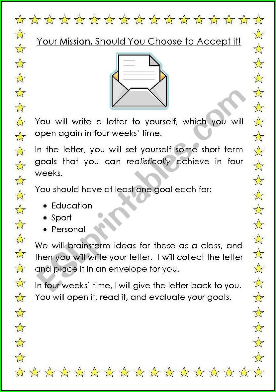 Worksheet Goal Setting Activity