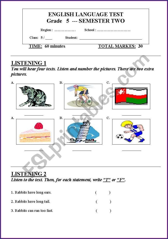 Worksheet Grade 5 English