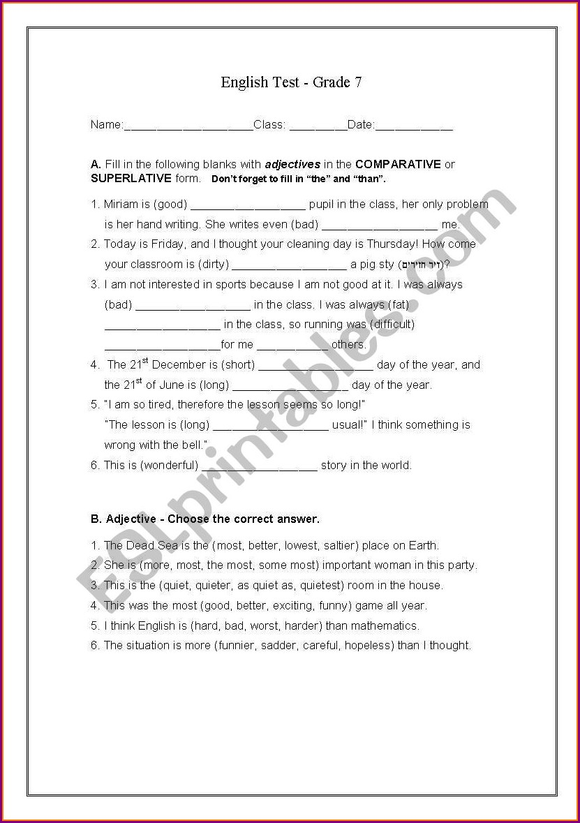 Worksheet Grade 7 English