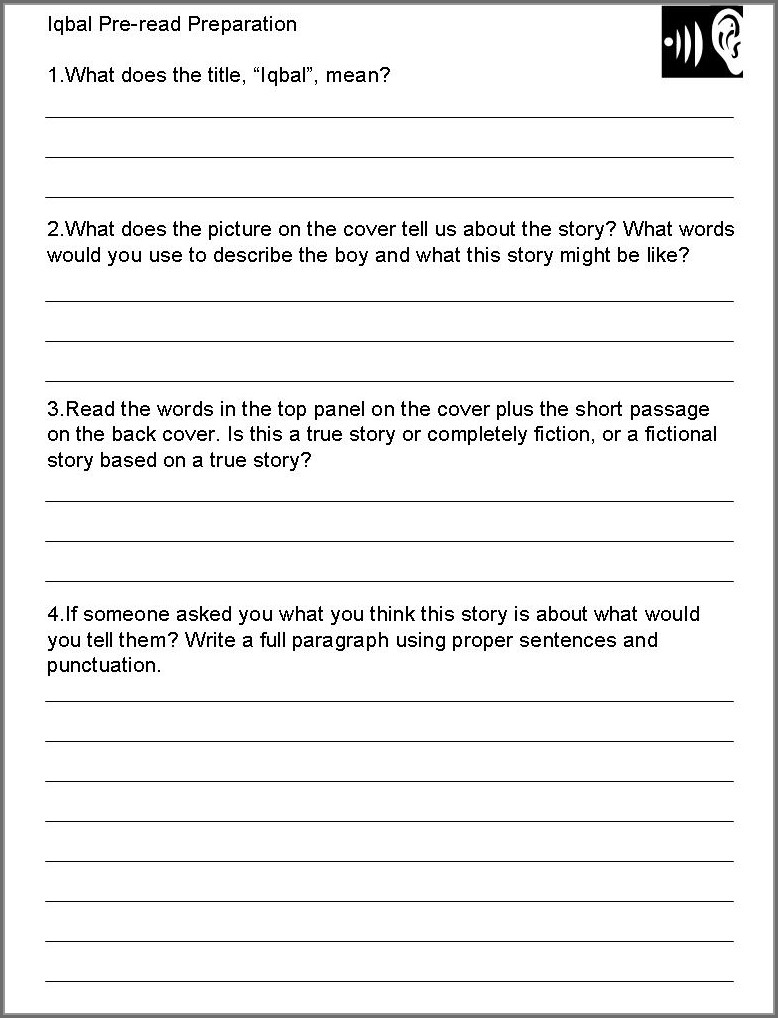 Worksheet In English Grade 10