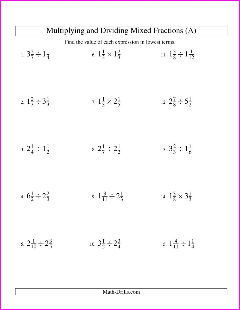Worksheet Multiplication And Division Of Fractions