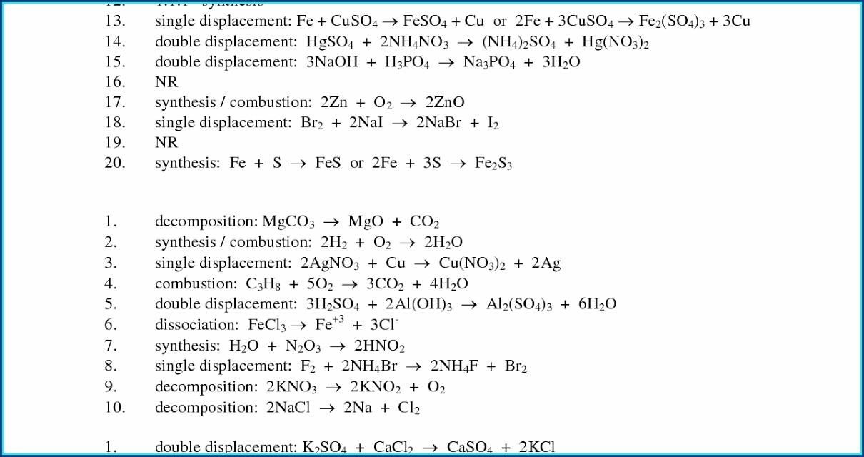Worksheet Number 3 Decomposition Reactions