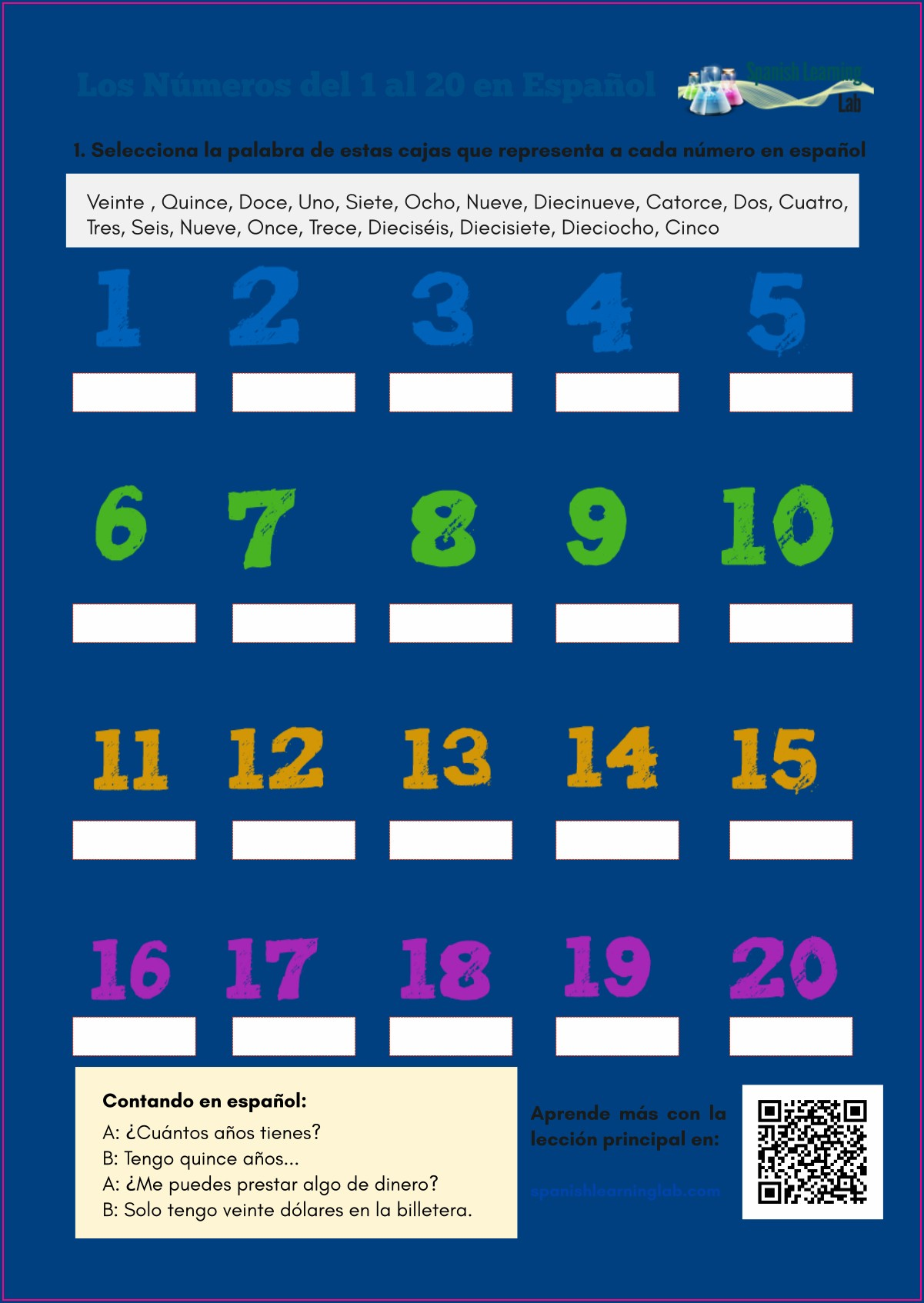 Worksheet Numbers From 1 To 20