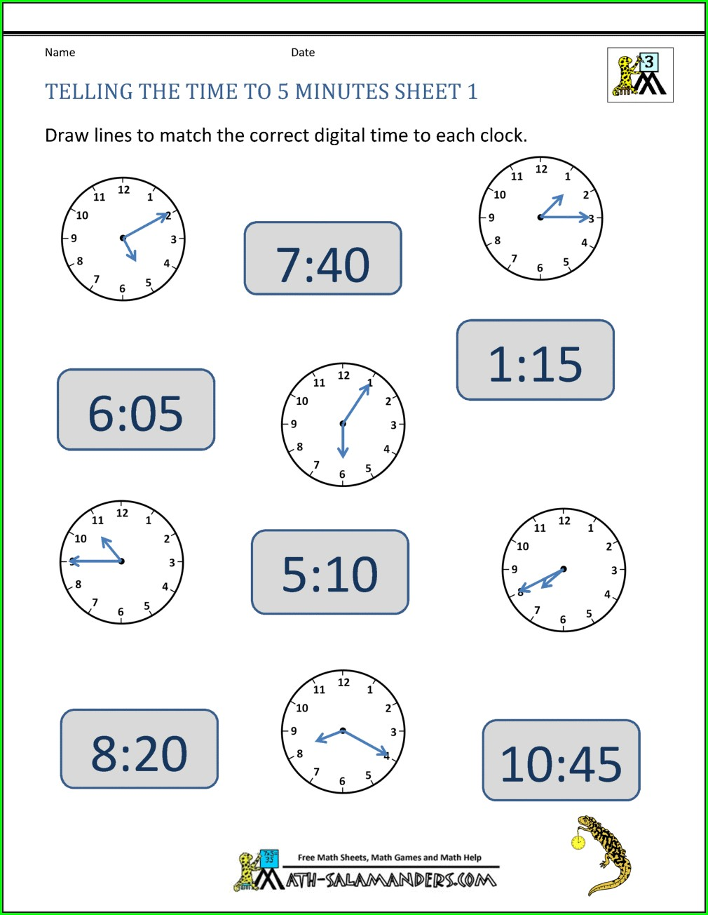 Worksheet Of Math On Clock Time
