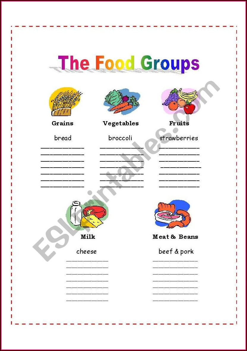 Worksheet On Food Groups For Grade 4