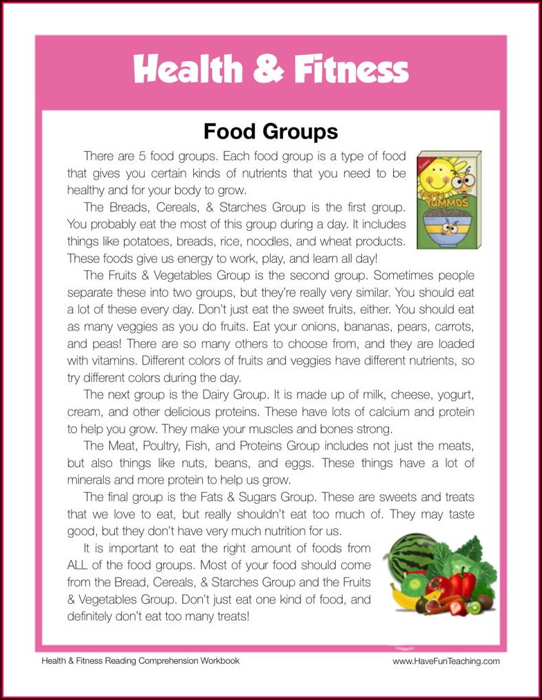 Worksheet On Food Groups